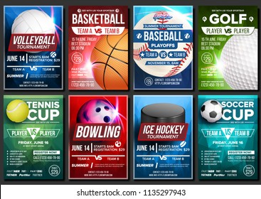 Sport Poster Vector. Soccer, Tennis, Golf, Basketball, Bowling, Baseball, Ice Hockey. Event Design Template. Sport Bar Promo, Bowling Ball. Tournament A4  Championship Flyer Announcement Illustration