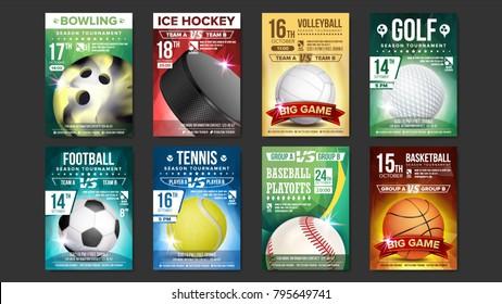 Sport Posters Set Vector. Golf, Baseball, Ice Hockey, Bowling, Basketball, Tennis, Soccer. Design For Sport Bar Promotion. Bowling Ball. Modern Tournament. A4 Size. Championship Flyer Illustration