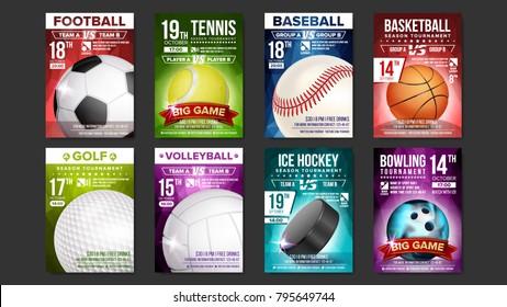 Sport Posters Set Vector. Golf, Baseball, Ice Hockey, Bowling, Basketball, Tennis, Soccer, Football. Event Announcement. Banner Advertising. Professional League. Vertical Sport Invitation Illustration