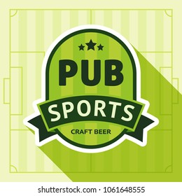 Sport pub badge, vector illustration on a green background