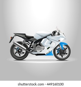 Sport racing bike a detailed view of the profile. Vector illustration of 3d photorealism style isolated on white background