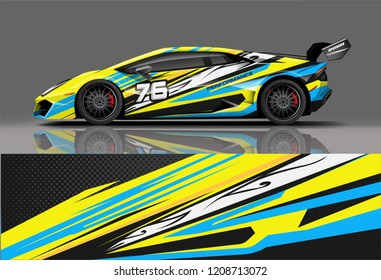 Sport racing car wrap decal and sticker livery design. vector eps10 format.