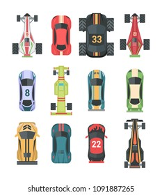 Sport and racing cars - set of modern vector elements isolated on white background for creating your own images. Top view position of different models of vehicles
