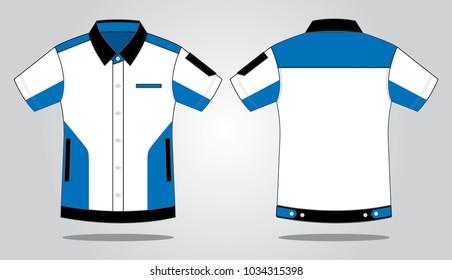 Sport Racing Uniforms Shirt Design (White/Blue/Black)