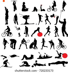 sport and recreation collection silhouettes - vector
