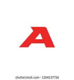 Sport red letter A, vector symbol. Font monogram. Simple logo template