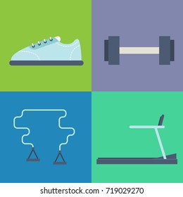 Sport related items. Vector icons set.