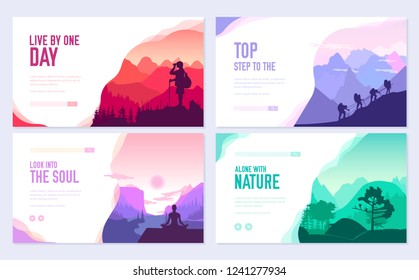 Sport rest day vector brochure cards set.  Tourism on nature template of flyear, web banner, ui header, enter site. Invitation concept background. Layout illustration modern slider