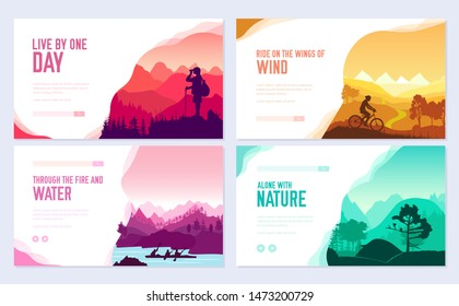 Sport rest day vector brochure cards set.  Tourism on nature template of flyer, web banner, ui header, enter site. Invitation concept background. Layout illustration modern slider
