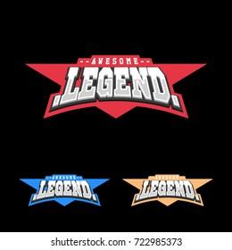 Sport retro lettering oo emblem. Legend t-shirt design template