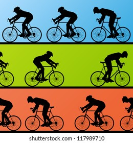 Sport road bike bicycle riders detailed silhouettes collection in landscape background illustration vector