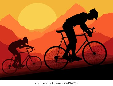 Sport road bike bicycle riders in wild nature landscape background illustration vector