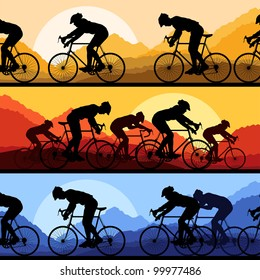Sport road bike riders and bicycles detailed silhouettes collection in wild mountain nature landscape background illustration vector