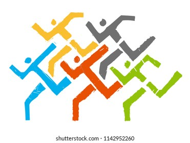 Sport Runners logo. Abstract stylized illustration of running race.Vector available.