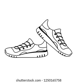 Sport running shoes black and white