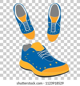 sport running shoes with laces. snickers in colors of Europe Union flag. vector illustration