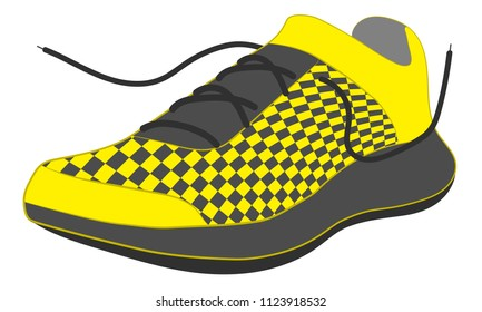 sport running shoes with laces. in yellow and black colors snickers. vector illustration