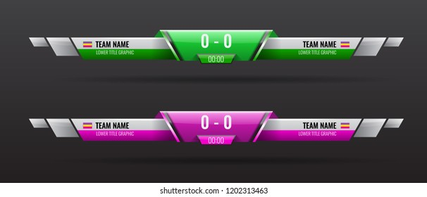 Sport scoreboard bars or lower third template with time and result display. Vector illustration.