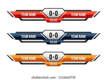 Sport scoreboard with time and result display. Vector template for your design.