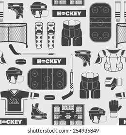 Sport seamless pattern with hockey flat style icons in black and white colors.