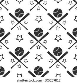 Sport seamless pattern. Monochromic baseball background vector illustration