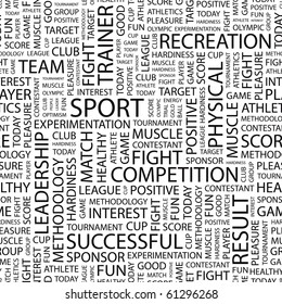 SPORT. Seamless vector pattern with word cloud. Illustration with different association terms.