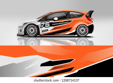 Sport sedan and hatchback Racing livery design. for wrap, decal, and sticker. eps10 format.
