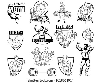 Sport set. Fitness center. Gym emblem. Fitness logo. Health Center logo. Shield vector logo design template. Body care. Body-building.