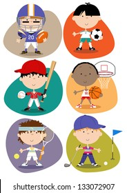 Sport Set - Male Set of six male cute fun sports characters - American footballer, footballer (soccer), baseball player, basketball player, tennis player, golfer.