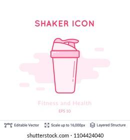 Sport shaker icon isolated on white. Sports equipment vector logo. Modern pictogram for web graphics