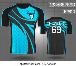 sport shirt ,T-shirt sport design ,Vector Soccer jersey template, football sport shirt front and back model eps10 on grid background with horn logo and number for edit,