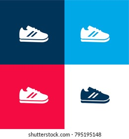 Sport Shoe four color material and minimal icon logo set in red and blue