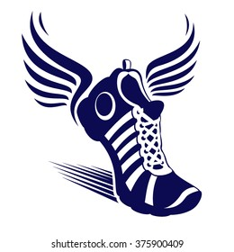 Sport shoe with wings - vector symbol
