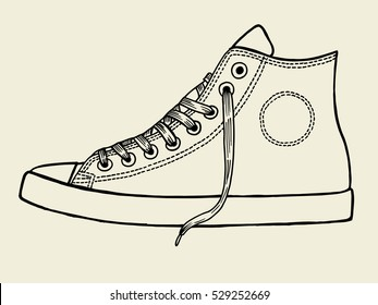 Sport shoes, Hand drawn illustration isolated on beige background