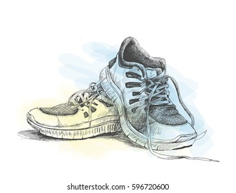 Sport shoes - Hand Drawn Sketch Vector illustration.
