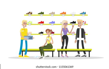 Sport shoes store interior. Young people choose and try on shoes and boots. Isolated vector flat illustration