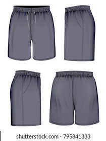 Sport shorts, front, back and side views. Vector illustration.