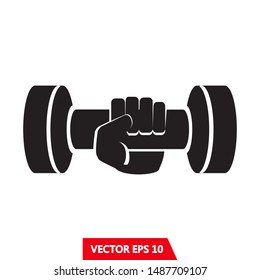 sport sign, Hand with dumbbell vector illustration.