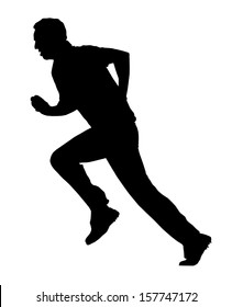 Sport Silhouette - Cricket Bowler Busy with Run-Up