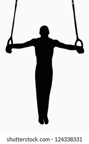 Sport Silhouette -Gymnast on rings with strieght body in horisontal hold