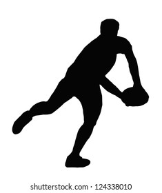 Sport Silhouette - Rugby Player Making Swinging Running Pass