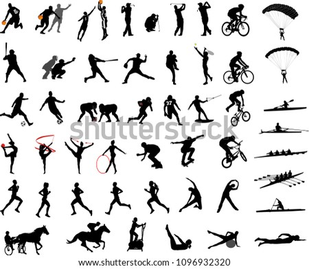 Sport Silhouettes Collection Vector Stock Vector 1096932320