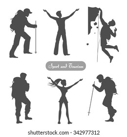 Sport silhouettes. Hiking, climbing, achievement, leader. Vector element for logo/label design.