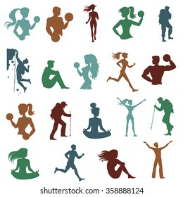 Sport silhouettes. Hiking, climbing, achievement, athlete, dumbbell, leader. Vector element for fitness or gym logo/label design.
