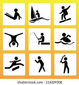 sport silhouettes set, action in holiday