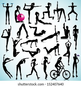 Sport silhouettes of women