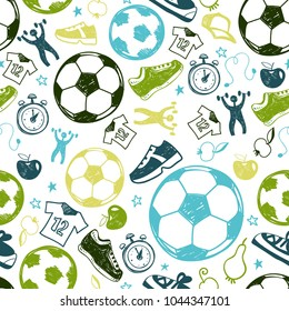 Sport sketch equipment soccer seamless pattern. Hand drawn doodle icon football background of recreation and leisure. Vector illustration