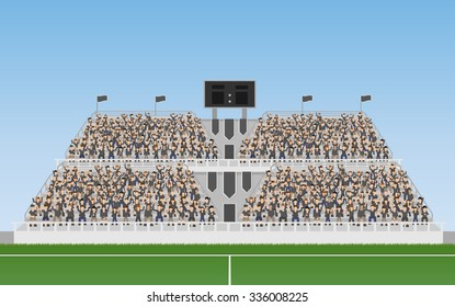 Sport Soccer Fans of Black Team Cheering In The Grandstand. Vector