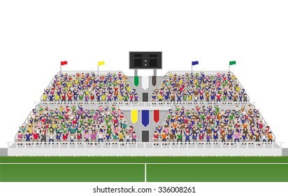 Sport Soccer Fans Cheering In The Grandstand. Isolated on White Background Vector