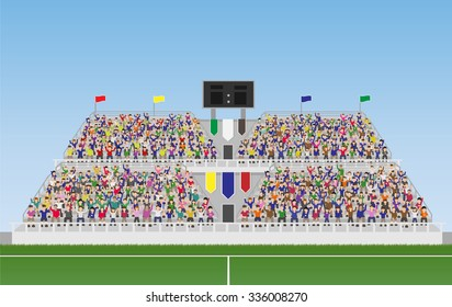 Sport Soccer Fans Cheering In The Grandstand. Vector